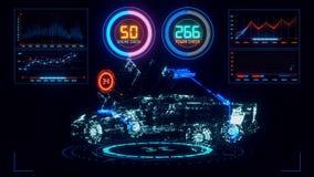 3D Blue Orange HUD Auto Car Interface Motion Graphic Element