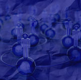3d blue human social network and leadership. On crumpled paper background as concept Royalty Free Stock Photography