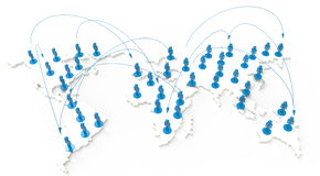 3d blue human social network. Social network human 3d on world map as concept Royalty Free Stock Photos