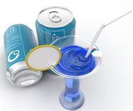 3d blue ICE TEA cane and blue liquid in glass with straw and lemon concept Royalty Free Stock Images