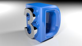 3D blue icon - 3D rendering. An icon for 3D with the number 3 written with a metallic polished chrome, sticked on a side of the D, written with blue glossy Stock Photo