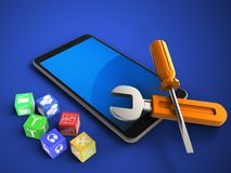 3d blue. 3d illustration of mobile phone over blue background with cubes and repair tools Stock Image