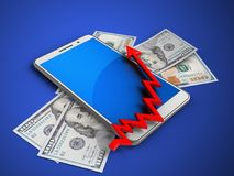 3d blue. 3d illustration of white phone over blue background with banknotes and arrow chart Royalty Free Stock Photo