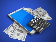 3d blue. 3d illustration of white phone over blue background with banknotes and cinema clap Stock Photo