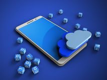 3d blue. 3d illustration of white phone over blue background with binary cubes and clouds Stock Photography