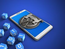 3d blue. 3d illustration of white phone over blue background with binary cubes and vault door Royalty Free Stock Photo