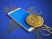 3d blue. 3d illustration of white phone over blue background with electronic circuit and bitcoin Royalty Free Stock Images