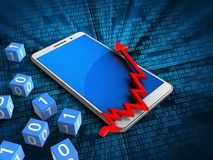 3d blue. 3d illustration of white phone over digital background with binary cubes and arrow chart Stock Image