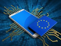 3d blue. 3d illustration of white phone over digital background with electronic circuit and EU flag Stock Images