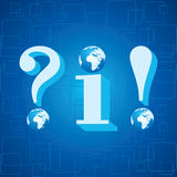 3d blue info,question mark and exclamatory mark ic Stock Image