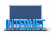 3D Blue Internet Word. Isolated Laptop Background Royalty Free Stock Photos