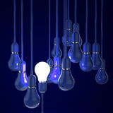 3d blue light bulb. Creative idea and leadership concept with 3d blue light bulb Stock Photos