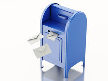 3d Blue mail box with heap of letters. 3d illustration. Blue mail box with heap of letters. Isolated white background royalty free illustration