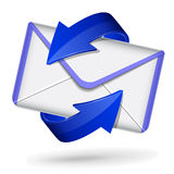 3d blue mail icon. Vector illustration of 3d mail icon on white background Stock Photos