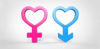 3D blue male and pink female sex heart shape symbol  on plain white background Stock Image