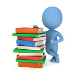 3d blue man with books. 3d blue man stand near stack of books with thumbs up. Back to school. Education concept Stock Photo
