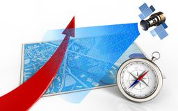 3d blue map. 3d illustration of blue map with red arrow and satellite digital signal Stock Photo