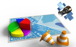 3d blue map. 3d illustration of blue map with business data and gps satellite Royalty Free Stock Photography