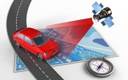 3d blue map. 3d illustration of blue map with car and compass Royalty Free Stock Images
