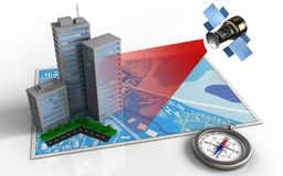 3d blue map. 3d illustration of blue map with city buildings and satellite Royalty Free Stock Image