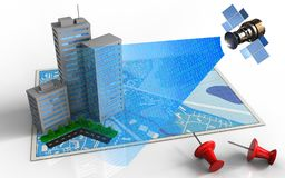 3d blue map. 3d illustration of blue map with city buildings and satellite digital signal Stock Images