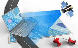 3d blue map. 3d illustration of blue map with computer and red pins Royalty Free Stock Photography