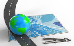 3d blue map. 3d illustration of blue map with earth and circle tool Stock Image