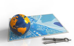 3d blue map. 3d illustration of blue map with earth globe and Stock Photo