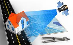 3d blue map. 3d illustration of blue map with house and circle tool Royalty Free Stock Photo