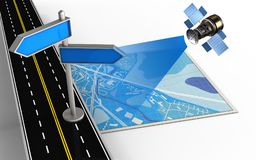 3d blue map. 3d illustration of blue map with index and Royalty Free Stock Images