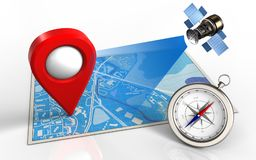 3d blue map. 3d illustration of blue map with location pin and satellite Royalty Free Stock Images