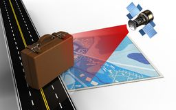 3d blue map. 3d illustration of blue map with luggage and Royalty Free Stock Images