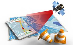 3d blue map. 3d illustration of blue map with mobile navigation and satellite Stock Photography