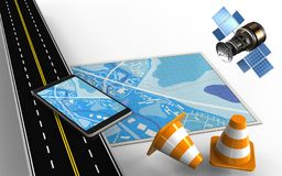 3d blue map. 3d illustration of blue map with mobile phone and repair cones Stock Photo