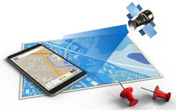 3d blue map. 3d illustration of blue map with phone navigation and satellite Royalty Free Stock Image