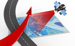 3d blue map. 3d illustration of blue map with red arrow and Stock Images