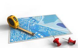 3d blue map. 3d illustration of blue map with ruler and Royalty Free Stock Photo