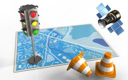 3d blue map. 3d illustration of blue map with traffic light and gps satellite Stock Photo