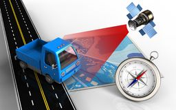 3d blue map. 3d illustration of blue map with truck and compass Royalty Free Stock Image