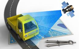 3d blue map. 3d illustration of blue map with yellow truck and circle tool Royalty Free Stock Images