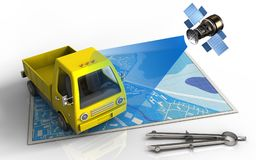 3d blue map. 3d illustration of blue map with yellow truck and satellite Stock Images
