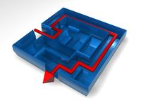 3d blue maze render with red arrow Stock Image