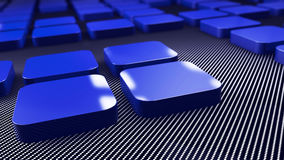 3d blue  metal and carbon squares background Stock Images
