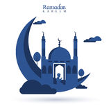 3D blue moon with Mosque for Ramadan. Creative illustration of blue 3D Moon with Mosque and praying boy for Holy Month of Muslim Community, Ramadan Kareem Royalty Free Stock Photography