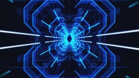 3D Blue Neon Tunnel Loopable Motion Background stock footage