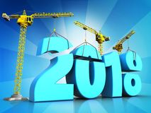 3d blue 2018 new year sign. 3d illustration of cranes building blue 2018 new year sign over  background Stock Photography