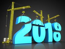 3d blue 2018 new year sign. 3d illustration of cranes building blue 2018 new year sign over black background Royalty Free Stock Image