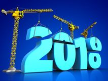 3d blue 2018 new year sign. 3d illustration of cranes building blue 2018 new year sign over blue background Stock Photos
