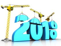 3d blue 2018 new year sign. 3d illustration of cranes building blue 2018 new year sign over white background Stock Photos