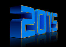 2015 3D. Blue numbers 2015 with gold edges. Vector New Year symbol Stock Image